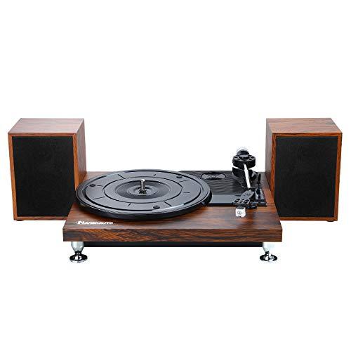 NAVISKAUTO Platine Vinyle Supporte 33⅓,45,78 RPM avec Deux Haut-parleurs externes