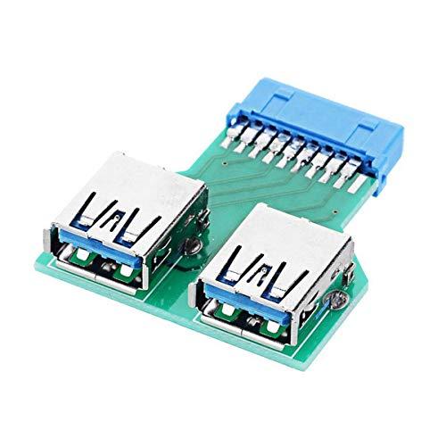 CY - Adaptador USB 3.0 de 20 pines para placa base USB 3.0 tipo A hembra a tarjeta madre