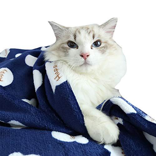 XDYFF Manta Polar para Perros, Alfombra para Mascotas Lavable, Suave, Acogedora Y Cálida, para Perros Pequeños Y Medianos En La Cama, Sofá, Viajes Y Camping Al Aire Libre, 3 Piezas,Azul,L