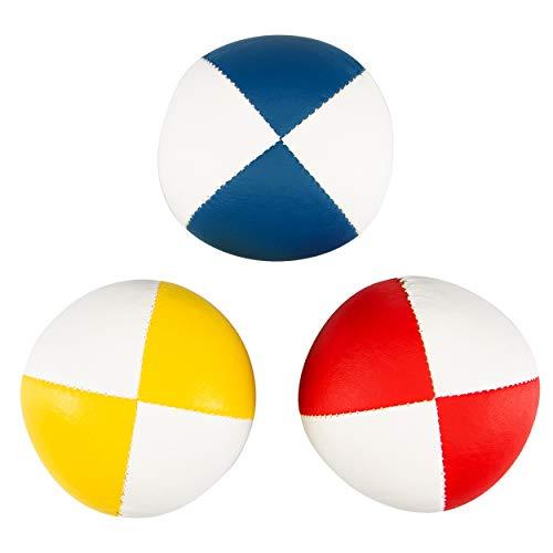 3er Set Diabolo Premium Soft Jonglierbälle zweifarbig - 58mm Ø ✓ Jonglierball Füllung aus hochwertiger Vogelhirse ✓ Wasserabweisend ✓ softes Kunstleder I Jonglier-Set für Kinder & Jugendliche