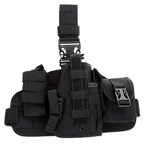 Gexgune Armée Militaire réglable Universelle Jambe de Cuisse Jambe de Cuisse de Pistolet Pistolet étui Panneau Plate-Forme avec Sac de Chasse de Poches Molle (Noir)