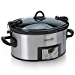 Crock-Pot 6-Quart Programmable Cook & Carry Slow Cooker with Digital Timer, Stainless Steel , SCCPVL610-S (Renewed)