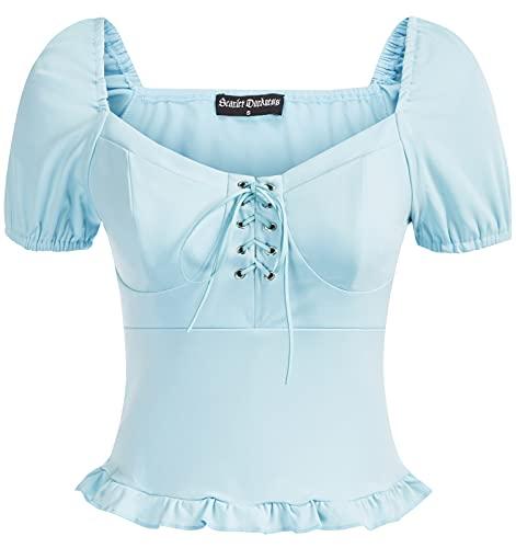 SCARLET DARKNESS Blusa de manga abombada estilo victoriano con cordones para mujer, azul claro, XXL