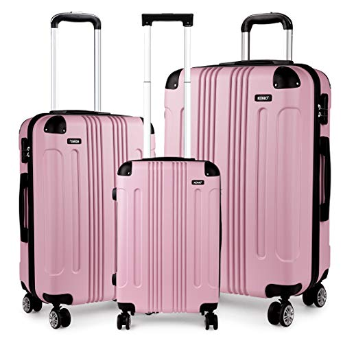 Kono Luggage Sets of 3 Piece Lightweight 4 Wheels Hard Sheel ABS Travel Trolley Suitcases (Pink)