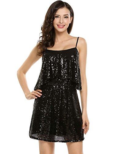 Zeela vestito donne vestire sexy fashion manica lunga paillettes scollo a V per la sera