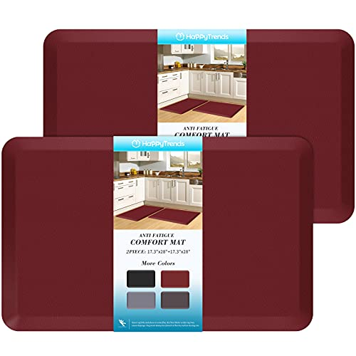 HappyTrends 2 PCS Kitchen Mat Cushioned Anti-Fatigue Floor Mat, Heavy Duty Ergonomic Comfort Foam Standing Mat, Waterproof Non-Slip Kitchen Rugs for Home, Office, Laundry,Red
