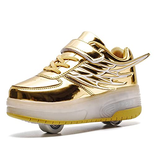 WXHXSRJ 7 colores que cambian los zapatos de patín con ruedas LED, retráctil, automático, regalo del día de los niños para niñas y niños, dorado, 38