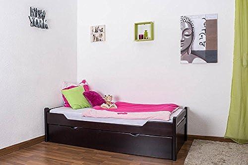 Kinderbett Jugendbett Easy Premium Line  K1 1h inkl. 2. Liegeplatz und 2 Abdeckblenden, 90 x 200 cm Buche Vollholz massiv Schokobraun