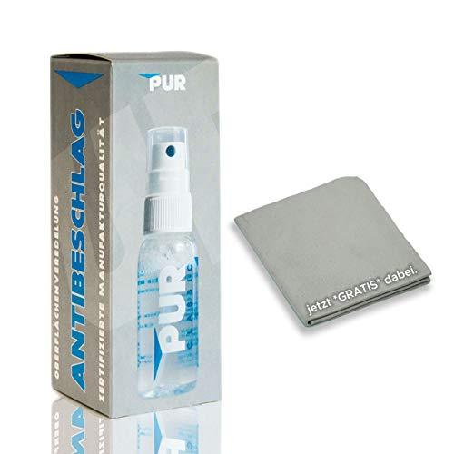 PUR CLASSIC Antibeschlag Spray (30ml) mit Antibeschlag-Tuch für Brillen (auch mit Masken und Mundschutz), Visiere, Tauchermasken