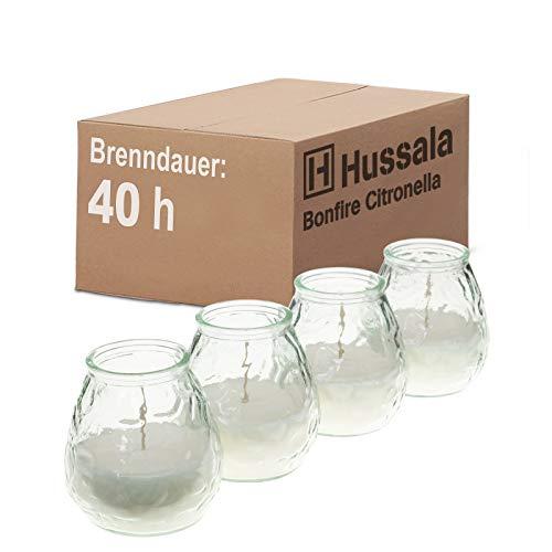 Hussala Bonfire Citronella Duft Kerzen mit Windlicht-Glas (Outdoor & Indoor-Kerze) Brennzeit 40 h - weiß [4 Stück]