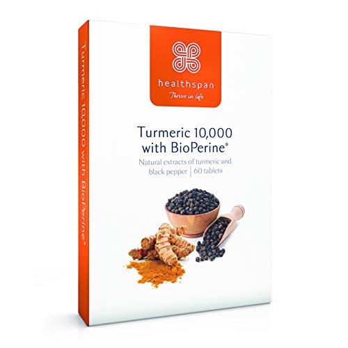 Turmeric 10,000 with BioPerine Black Pepper Extract | Healthspan | As Seen On TV | 60 Tablets | 95% Curcuminoids | Added Vitamin C | Vegan