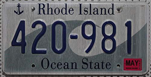 USA_Auswahl_von_Fahrzeugschildern : Original Auto- Nummernschild Rhode Island, Metall Kennzeichen US License Plate, KFZ Schild aus den USA