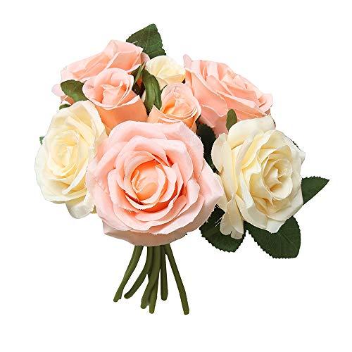 Yazidan 8Stücke Künstliche Gefälschte Rosen Blume Brautstrauß Hochzeit Home Decor Künstliche Seide Rosen Blütenköpfe Blumen-Köpfe Hochzeit Parteidekor Bulk Brautstrauß Hochzeitsfeier Home Decor\n