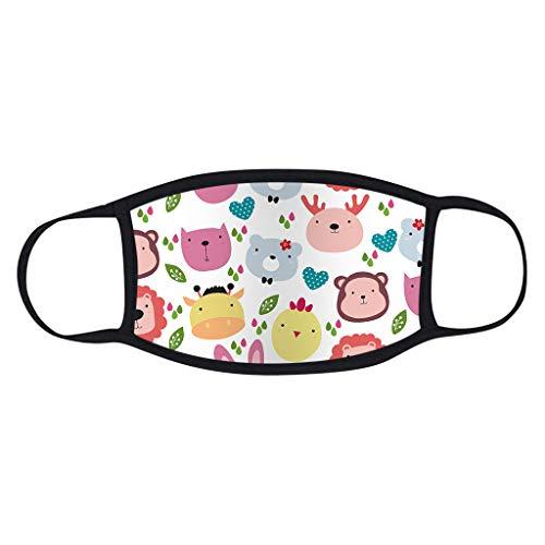 5 Stück Kinder-Mundschutz mit motiv Einfarbig/Cartoon Druck,Waschbar Wiederverwendbar,Baumwolle Stoff Atmungsaktiv,Gesichtsschutz Halstuch Für Jungen Mädchen - 7