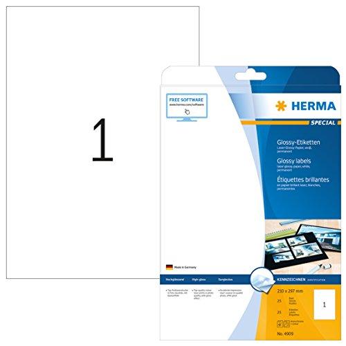 HERMA 4909 Hochglanz-Etiketten DIN A4 (210 x 297 mm, 25 Blatt, Papier, glänzend) selbstklebend, bedruckbar, permanent haftende Glossy Aufkleber, 25 Klebeetiketten, weiß