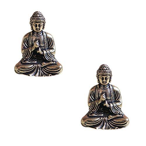 SaiDian 2 Pcs Mini Statue Brass Sakyamuni Buddha Ornaments Creative Home Office Decoration