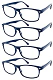 TBOC Gafas de Lectura Presbicia Vista Cansada - (Pack 4 Unidades) Graduadas +2.50 Dioptrías Montura de Pasta Azul Diseño Moda Hombre Mujer Unisex Lentes de Aumento Leer Ver Cerca