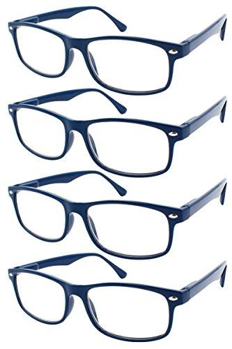 TBOC Gafas de Lectura Presbicia Vista Cansada - (Pack 4 Unidades) Graduadas +2.00 Dioptrías Montura de Pasta Azul Diseño Moda Hombre Mujer Unisex Lentes de Aumento Leer Ver Cerca