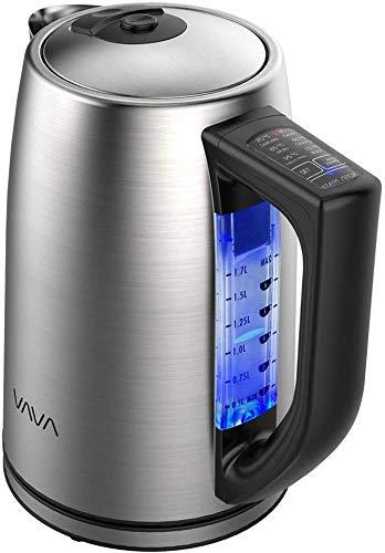 Elektrischer Wasserkocher mit Temperatureinstellung, VAVA Wasserkocher Edelstahl 1.7L für alle Getränke BPA-Frei Trockengehschutz Warmhaltefunktion
