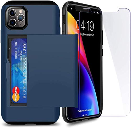 SUPBEC Compatible for iPhone 11 Pro Max Case with Card Holder and[ Screen Protector Tempered Glass x2Pcs][ Protective Series] Shockproof Silicone for iPhone 11 ProMax Wallet Case Cover-Navy Blue-6.5""