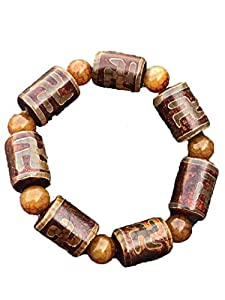 ZHIBO Natürliches Chalcedon Jade Achat Herren Damen tibetisches Himmelauge Dzi Armband