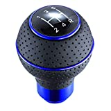Arenbel 5 Speed Shifter Knob Leather Car Gear Stick Lever Ball Shift Handle Fit Most Automatic Manual Vehicles, Blue