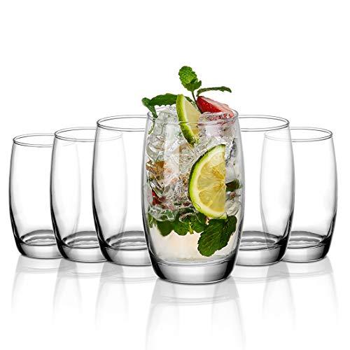 Amisglass Longdrinkgläser 400ML, Wassergläser 6er Set, Trinkgläser für Wasser, Saft, Bier und Cocktail, Cocktailglas mit Schweres Basis, BPA-Frei, Saftgläser aus Hochwertigem Kristallglas