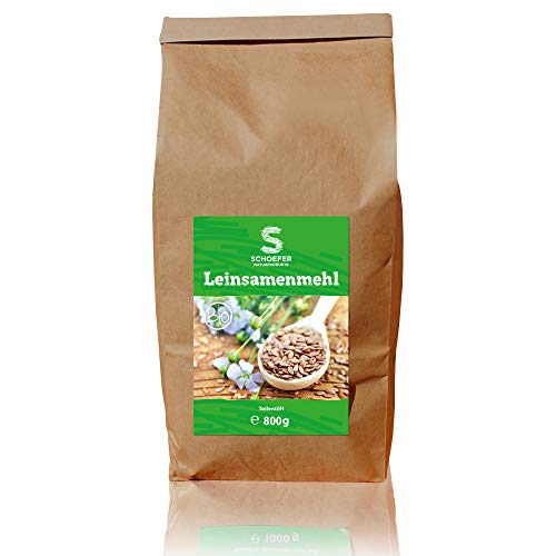 Schoefer Bio Leinsamenmehl – Teil-Entölt - Glutenfrei - Vegan – Eiweiß-Mehl – Weizenmehlersatz - Paleo - Aus Dunklen Leinsamen - 800g