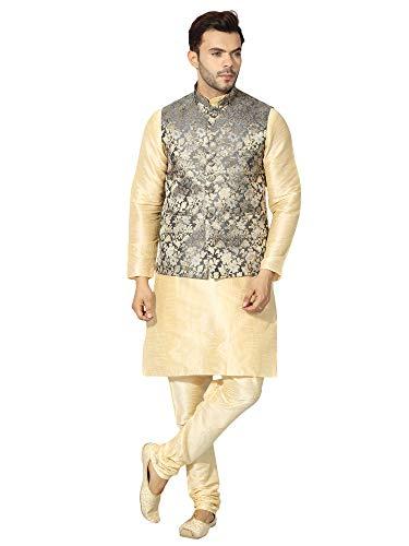 Uri and MacKenzie Men's Golden kurta pyjama set for men with Ethnic Nehru jacket