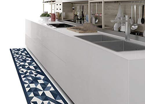 BiancheriaWeb Tappeto Passatoia Cucina Antiscivolo Tessuto Jacquard Disegno Origami Blu 57x280 Blu