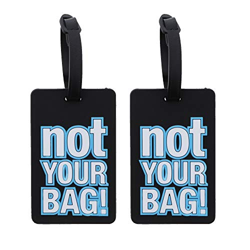 Not Your Bag Luggage Tag Suitcase ID Holder - Set of 2 Black