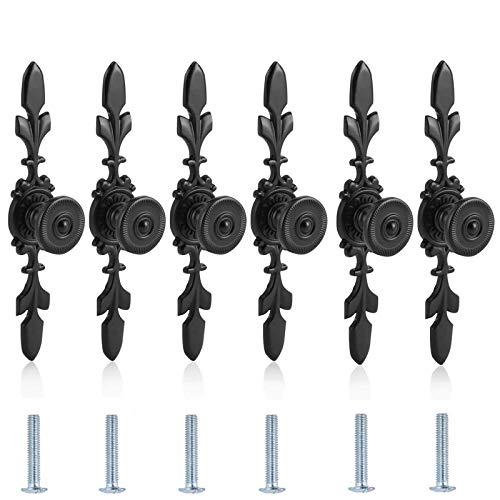 6 Piezas Tiradores de Armario con Placa y Tornillos,Pomos Negros para Armario con Placa,Tiradores Estilo Vintage Tiradores de Puerta,para Home,Cajón,Armario,Cocina,Dormitorio,Baño(Negro)