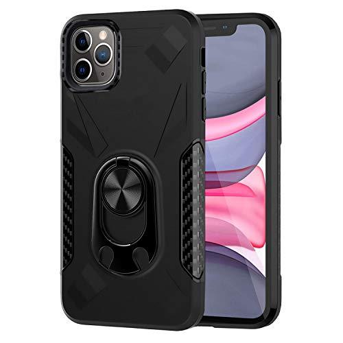 Ailisi iPhone 11 Pro Max Hülle, Premium Tough Armor Stoßfest Handyhülle 2 in 1 Schutzhülle Bumper Cover mit Ringhalter Stand [Für Magnetische Autohalterung] [Flaschenöffner Funktion] -Schwarz