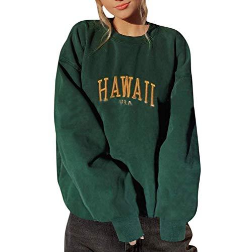 Onsoyours Camiseta para Mujer Sudadera Manga Cuello Redondo Blusa Vintage Estampado Pullover Sweatshirt Streetwear Suelto W Verde L