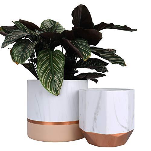 La Jolíe Muse Lot de 2 pots de fleurs d'intérieur en céramique blanche avec motifs d'encre marbre, détails or rose et rose