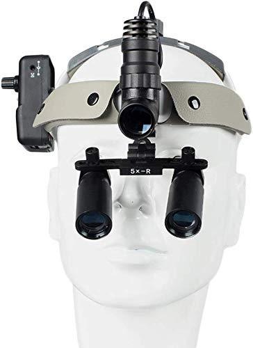 Mnjin Linterna quirúrgica LED portátil Lupas Diadema de Cuero Lupas binoculares dentales Gafas 5X Lupa Lámpara médica de Alto Brillo para cirugía Vascular Implante Dental
