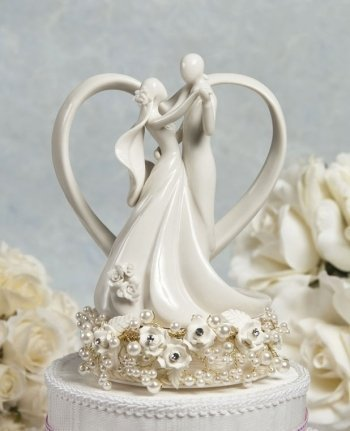 Wedding Collectibles Vintage Rose Pearl and Heart Wedding Cake Topper: Base Color: GOLD WIRING