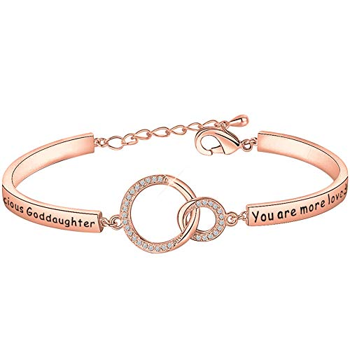 Lywjyb Birdgot Goddaughter Gift Goddaughter Bracelet Goddaughter Birthday Gifts Christian Baptism Gift for Godmothers You are More Loved Than You Know Jewelry (Precious Goddaughter RG)