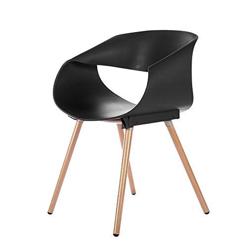 G-Y Sofa Paresseux, Chaise De Roulement De Chaise D'oeufs, Chaise En Bois Solide De Café En Bois De Dinant La Chaise (Couleur : Noir)