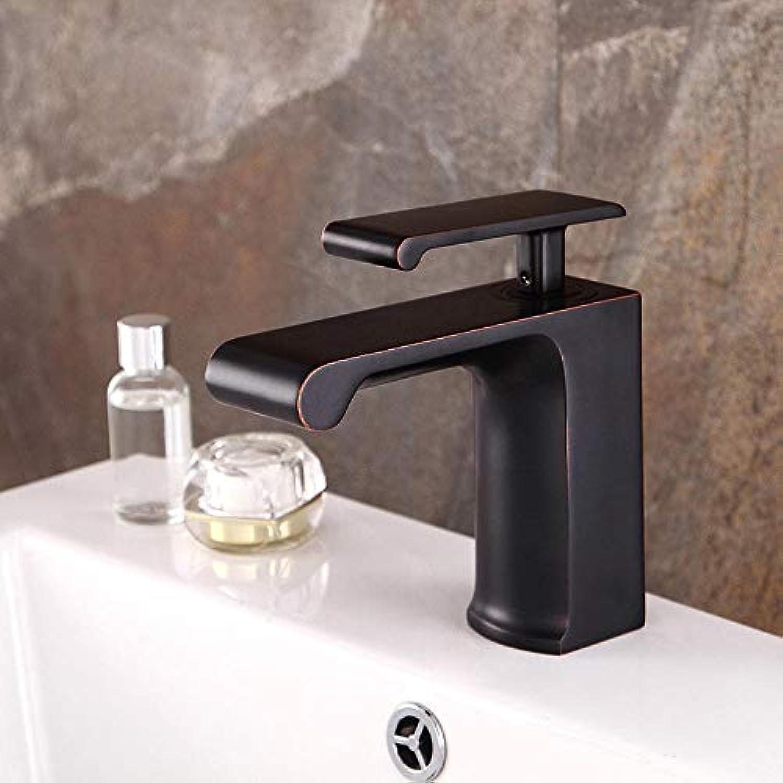 Badezimmerhahnsingle-Connected Home Hotel Spezielle Waschtischarmatur Retro-Schwarzschlüssel Verchromter Messinghahn