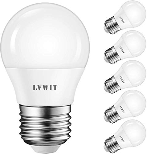 LVWIT E27 LED ersetzt 40W Glühlampe (6-er Pack), Warmweiß 2700K, 5W G45 LED Leuchtmittel, 470lm, matt