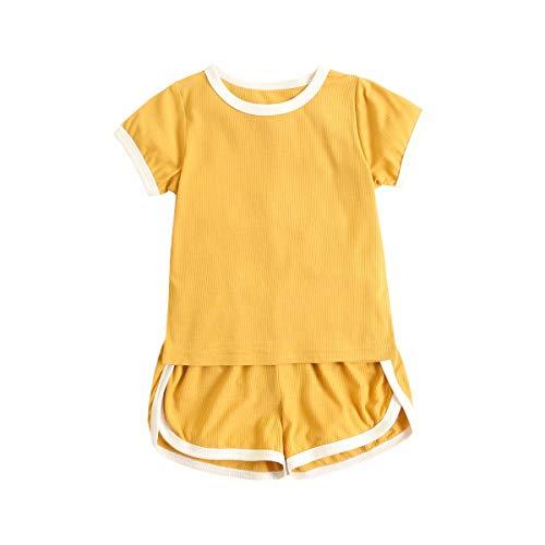 UMore Ropa de bebé de verano conjuntos de manga corta casual de algodón para niños pequeños + fondos lindos 2 piezas
