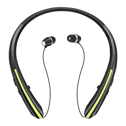 Retractable Bluetooth Headphones, Wireless Earbuds Stereo Headsets Neckband Earphone Noise Canceling with Mic by Mikicat (2020 Upgraded, 20 Hours Playtime, Black Green)