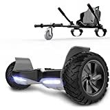 RCB hoverboards SUV Scooter Eléctrico Patinete Auto-Equilibrio Todo Terreno 8.5 ' Patinete Hummer Bluetooth + Hoverkart Asiento Kart para Overboard (Negro + Negro Carbón)