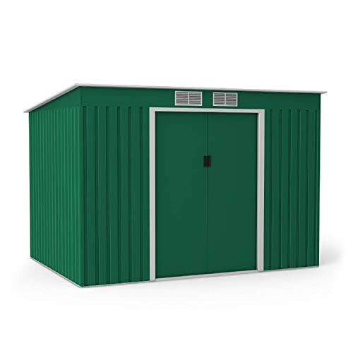 BillyOh Cargo Pent Metal Shed with Foundation Kit | Hot-Dipped Galvanised Metal Storage | Garden Storage Garden Shed - Dark Green (9x6)