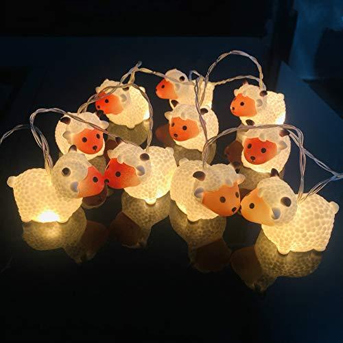Graziosa catena di luci a LED a forma di pecora, funzionamento a batteria, per interni, esterni, Halloween, Natale, giorno del Ringraziamento, festa per bambini, decorazione per la camera da letto (pecora)