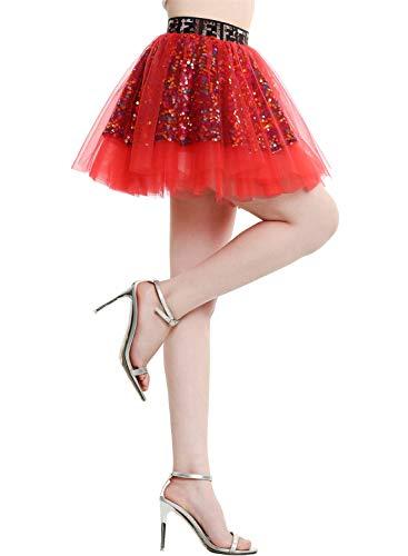 BeryLove Damen Pailletten Rock Gold Petticoat Tüllrock Mini Tanzrock Mädchen Festliche Glitzernd BLP9001 Red L