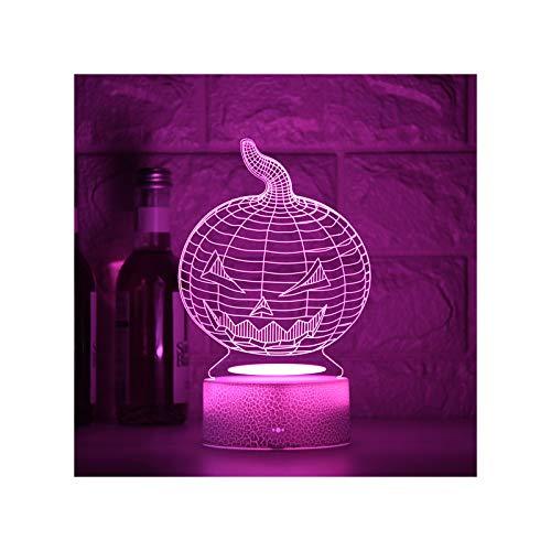 HOKVJ Calabaza Acrílico 3D Lámpara De Ilusión Led 7 Cambio De Color Luz De Noche Pequeña Luces De Color para Bebés Lámpara De Escritorio USB Led Atmósfera Lámpara De Decoración Nocturna