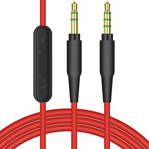 Cable de repuesto para auriculares con micrófono integrado y control de volumen (color rojo), compatible con Beats Solo, Solo2, Solo3, Wireless, Solo HD, Studio, Studio Wireless, Mixr, Pro, etc.