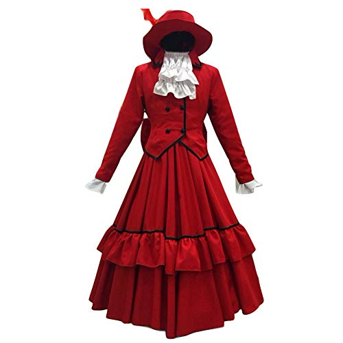 Anime Black Butler Ciel Phantomhive Angelina Red Dress Red Lady Cosplay Kostüm - Rot - Medium